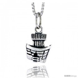 Sterling Silver Boat Pendant, 1/2 in tall