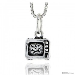 Sterling Silver Television Set Pendant, 5/16 in tall