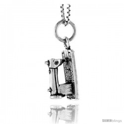 Sterling Silver Sewing Machine Pendant, 1/2 in tall