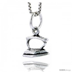 Sterling Silver Flat Iron Pendant, 5/16 in tall