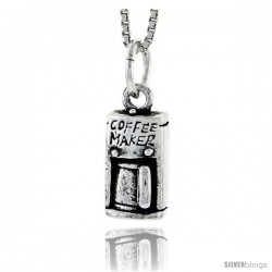 Sterling Silver Coffee Maker Pendant, 1/2 in tall