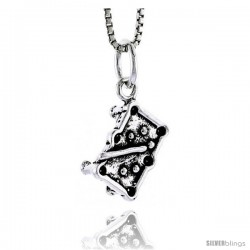 Sterling Silver Pool Table Pendant, 1/2 in tall