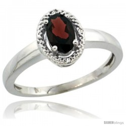 Sterling Silver Diamond Halo Natural Garnet Ring 0.75 Carat Oval Shape 6X4 mm, 3/8 in (9mm) wide