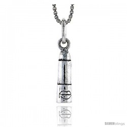 Sterling Silver Lipstick Pendant, 1/2 in tall