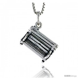 Sterling Silver Park Bench Pendant, 3/8 in tall