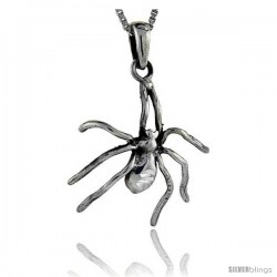Sterling Silver Spider Pendant, 1 1/2 in tall