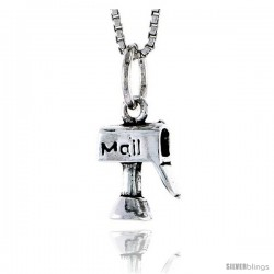 Sterling Silver Mailbox Pendant, 1/2 in tall