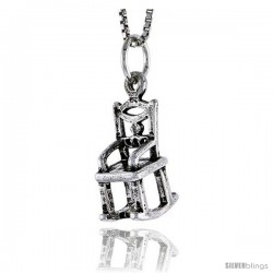 Sterling Silver Rocking Chair Pendant, 5/8 in tall