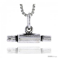 Sterling Silver Dough Roller Pendant, 3/16 in tall