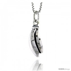 Sterling Silver Banana Pendant, 5/8 in tall