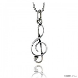 Sterling Silver G-clef Pendant, 7/8 in tall
