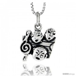 Sterling Silver G-Clef & Comedy / Tragedy Masks Pendant, 1/2 in tall