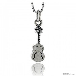 Sterling Silver Guitar Pendant, 5/8 in tall