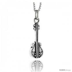 Sterling Silver Violin Pendant, 3/4 in tall
