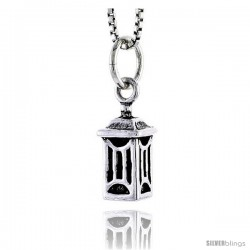 Sterling Silver Japanese Lantern Pendant, 1/2 in tall