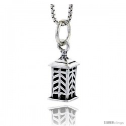 Sterling Silver Lantern Pendant, 1/2 in tall