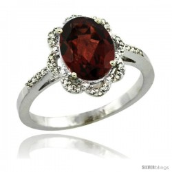 Sterling Silver Diamond Halo Natural Garnet Ring 1.65 Carat Oval Shape 9X7 mm, 7/16 in (11mm) wide