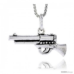 Sterling Silver Pistol Pendant, 7/8 in wide