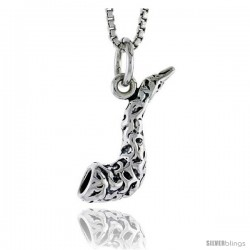 Sterling Silver Horn Pendant, 3/4 in tall