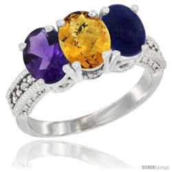 14K White Gold Natural Amethyst, Whisky Quartz & Lapis Ring 3-Stone 7x5 mm Oval Diamond Accent
