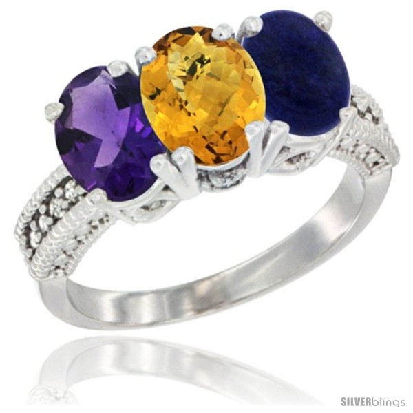 https://www.silverblings.com/711-thickbox_default/14k-white-gold-natural-amethyst-whisky-quartz-lapis-ring-3-stone-7x5-mm-oval-diamond-accent.jpg