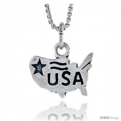 Sterling Silver USA Map Pendant, 3/8 in tall