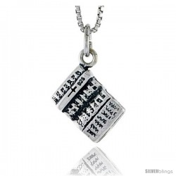 Sterling Silver Book Pendant, 3/8 in tall