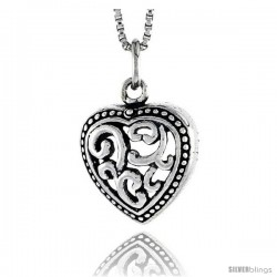 Sterling Silver Heart Pendant, 1/2 in tall -Style Pa1875