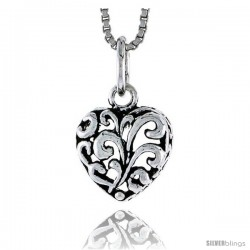 Sterling Silver Heart Pendant, 1/2 in tall -Style Pa1877