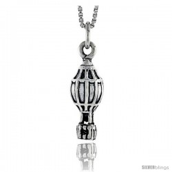 Sterling Silver Hot Air Balloon Pendant, 3/4 in tall