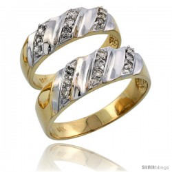 14k Gold 2-Piece His (7mm) & Hers (6mm) Diamond Wedding Band Set w/ Rhodium Accent, w/ 0.28 Carat Brilliant Cut Diamonds