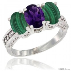 14K White Gold Natural Amethyst Ring with Malachite 3-Stone 7x5 mm Oval Diamond Accent
