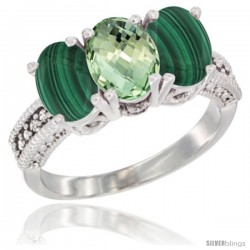 14K White Gold Natural Green Amethyst Ring with Malachite 3-Stone 7x5 mm Oval Diamond Accent