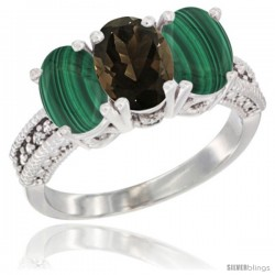 14K White Gold Natural Smoky Topaz Ring with Malachite 3-Stone 7x5 mm Oval Diamond Accent