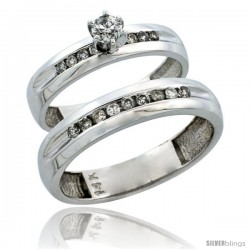 14k White Gold 2-Piece Diamond Ring Band Set w/ Rhodium Accent ( Engagement Ring & Man's Wedding Band ), w/ 0.42 Carat