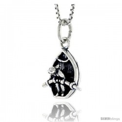 Sterling Silver Girl Row Boating Pendant, 1/2 in tall