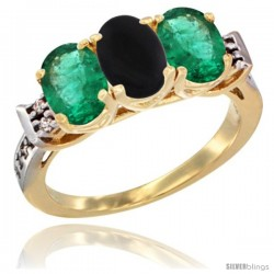 10K Yellow Gold Natural Black Onyx & Emerald Sides Ring 3-Stone Oval 7x5 mm Diamond Accent
