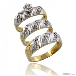 14k Gold 3-Piece Trio His (7mm) & Hers (6mm) Diamond Wedding Band Set w/ Rhodium Accent, w/ 0.46 Carat Brilliant Cut Diamonds
