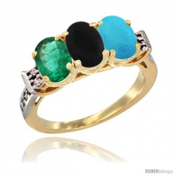 10K Yellow Gold Natural Emerald, Black Onyx & Turquoise Ring 3-Stone Oval 7x5 mm Diamond Accent