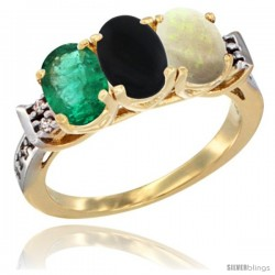 10K Yellow Gold Natural Emerald, Black Onyx & Opal Ring 3-Stone Oval 7x5 mm Diamond Accent