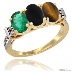 10K Yellow Gold Natural Emerald, Black Onyx & Tiger Eye Ring 3-Stone Oval 7x5 mm Diamond Accent