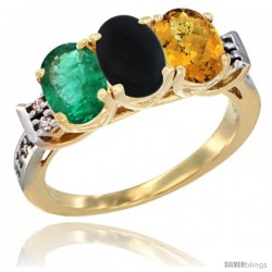 10K Yellow Gold Natural Emerald, Black Onyx & Whisky Quartz Ring 3-Stone Oval 7x5 mm Diamond Accent
