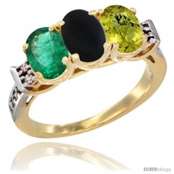 10K Yellow Gold Natural Emerald, Black Onyx & Lemon Quartz Ring 3-Stone Oval 7x5 mm Diamond Accent