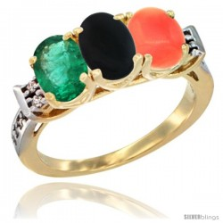 10K Yellow Gold Natural Emerald, Black Onyx & Coral Ring 3-Stone Oval 7x5 mm Diamond Accent