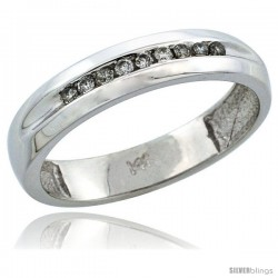 14k White Gold Ladies' Diamond Ring Band w/ 0.11 Carat Brilliant Cut Diamonds, 5/32 in. (4mm) wide