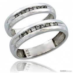 14k White Gold 2-Piece His (5mm) & Hers (4mm) Diamond Wedding Ring Band Set w/ 0.27 Carat Brilliant Cut Diamonds