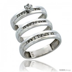 14k White Gold 3-Piece Trio His (5mm) & Hers (4mm) Diamond Wedding Ring Band Set w/ 0.53 Carat Brilliant Cut Diamonds