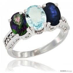 14K White Gold Natural Mystic Topaz, Aquamarine & Blue Sapphire Ring 3-Stone 7x5 mm Oval Diamond Accent