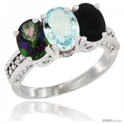 14K White Gold Natural Mystic Topaz, Aquamarine & Black Onyx Ring 3-Stone 7x5 mm Oval Diamond Accent