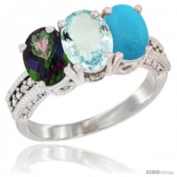 14K White Gold Natural Mystic Topaz, Aquamarine & Turquoise Ring 3-Stone 7x5 mm Oval Diamond Accent